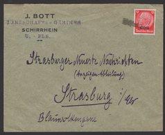 ALSACE Occupation Allemande Enveloppe 12pf HINDENBURG Surch ELSASS. Oblt Linéaire SCHIRRHEIN - Guerre De 1939-45
