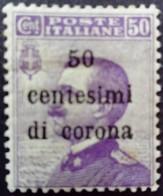 Trente Trieste Occupation Italie Italy Italia Surchargé Overprint Soprastampati 50 Cent Di Corona 1919 Yvert 9 * MH - 8. Besetzung 1. WK