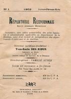Ile De La REUNION  -  REPERTOIRE REUNIONNAIS - Revue Juridique Mensuelle (Im 755) - Outre-Mer