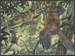 Sao Tome Und Principe 1993 Prähistorische Tiere Fauna Animals Vögel Birds Urvögel Protoavis, Bl. 306 Gest. - São Tomé Und Príncipe
