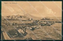 Napoli Città Via Caracciolo Vesuvio Barche Cartolina MX5338 - Napoli