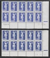 2906 2F. BRIAT BLEU - 2 DEMI BAS De FEUILLES X 10 - TIRAGES  94 & 97 - 1989-96 Bicentenial Marianne