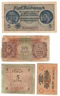 Occupazioni Estere In Italia Lotto 4 Banconote / Foreign Occupations In Italy Lot 4 Banknotes .L. - Colecciones