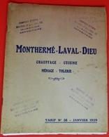 CATALOGUE TARIF N°38 FONDERIES DE MONTHERME-LAVAL-DIEU-CHALON SUR SAONE- 1929 - 1900 – 1949