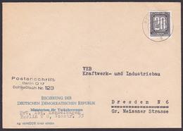 ZKD-Brief B3 BERLIN O17 Regierung Der DDR Ministerium Für Verkehrswesen, Schließfach  123,   Germany 5.4.56, Gefaltet - [6] République Démocratique