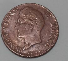 1837 - Monaco - 5 CENTIMES M C, Honoré V, KM 95.2, Gad 102 - Monaco