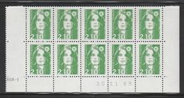 2622  2.10 F. BRIAT VERT - DEMI  BAS De FEUILLES X 10 - RGR 1 Du 30.11.89 - 1989-96 Maríanne Du Bicentenaire
