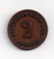 REF 1 : Monnaie Coin Allemagne 2 Pfennig 1875 B B BB - [ 2] 1871-1918 : German Empire