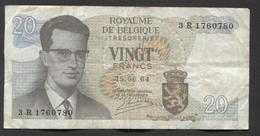 België Belgique Belgium 15 06 1964 -  20 Francs Atomium Baudouin. 3 R 1760780 - [ 6] Treasury