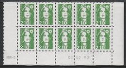2622  2.10 F. BRIAT VERT - DEMI  BAS De FEUILLES X 10 - RGR 2 Du 02/02/90 - 1989-96 Maríanne Du Bicentenaire