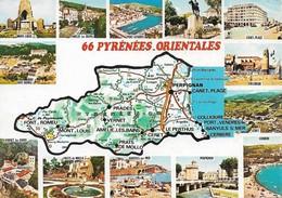 66 Carte Des Pyrénées Orientales Divers Aspects(2 Scans) - France