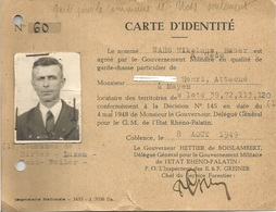 Carte De Garde Chasse - Etat Rhéno Palatin Gouvernement Militaire - Mayen Luxem Hirten Weiler - Allemagne 1949 - Unclassified