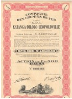 """Ancienne Action Congolaise - Compagnie Des Chemins De Fer Katanga-Dilolo-Léopoldville - """"K.D.L."""" N° 0609163 - Afrique"""