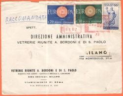 ITALIA - ITALY - ITALIE - 1960 - 70 + 30 Europa Cept + 15 Giochi XVII Olimpiade + EMA, Red Cancel - Raccomandata - Vetre - Affrancature Meccaniche Rosse (EMA)