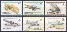 Rhodesien Rhodesia 1978 Luftfahrt Aviation Flugzeuge Aeroplanes Planes Motorflug Wright Boeing Vickers, Mi. 221-6 ** - Rhodesien (1964-1980)