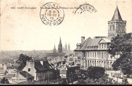 CAEN Panorama Pris De L'Abbaye Aux Dames Edition E Maillaut Caen N°1852 1916 Cachet Aulnat Puy De Dome - Caen