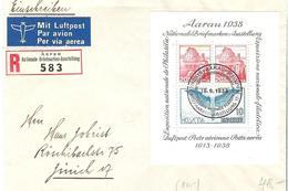 Schweiz Suisse 1938:  Zu WIII 11 Mi Block 4 Yv BF4 Auf R-Brief (R583) Mit O AARAU 19.9.1938 (Zu CHF 60.00) - Blocks & Kleinbögen