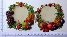 2   CHROMOS DECOUPIS  GAUFRES.....L : 9 Cm......PANNEAU ENTOURE DE FRUITS...ANANAS...GROSEILLES - Découpis