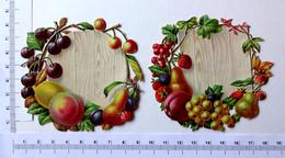 2   CHROMOS DECOUPIS  GAUFRES.....L : 9 Cm......PANNEAU ENTOURE DE FRUITS...CERISES...FRAISES - Découpis