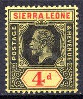 SIERRA LEONE - (Colonie Britannique) - 1912 - N° 94 - 4 P. Noir Et Rouge S. Jaune - (George V) - Sierra Leone (...-1960)