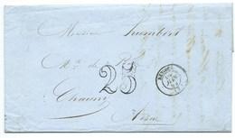 MARQUE POSTALE RETHEL ARDENNES / TAXE 25 DOUBLE TRAIT 1854 - 1849-1876: Période Classique