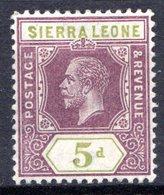 SIERRA LEONE - (Colonie Britannique) - 1912 - N° 95 - 5 P. Violet-brun Et Olive - (George V) - Sierra Leone (...-1960)