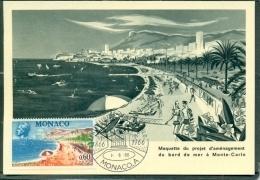 CM-Carte Maximum Card # 1966-Monaco # 100 Years  Monaco #  Proget D´aménagement Du Bord De Mer à Monte-Carlo - Cartas Máxima