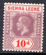 SIERRA LEONE - (Colonie Britannique) - 1912 - N° 99 - 10 P. Violet-brun Et Rouge - (George V) - Sierra Leone (...-1960)