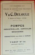 CATALOGUE POMPES INDUSTRIELLES,AGRICOLES MENAGERES-V&C DELOULE-LYON-TARIF - 1900 – 1949