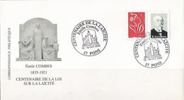 Enveloppe Complète - Centenaire De La Laïcité - Émile Combes 15&16 Oct. 2005 - Pons Charente Maritime - Postmark Collection (Covers)