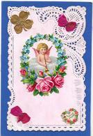 Carte Dentelée, Nacrée Décor De Découpis Ange, Fleurs, Rubans - Unclassified