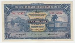 Trinidad & Tobago 1 Dollar 1943 VF+ CRISP Banknote Pick 5c 5 C - Trinidad & Tobago