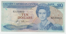 East Caribbean 10 Dollars 1985 1993 VF Pick 23d1  23 D1 - East Carribeans