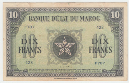 MOROCCO 10 DIX FRANCS 1944 VF Pick 25 - Morocco
