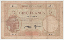 New Caledonia Noumea 5 Francs 1926 VG Pick 36b 36 B - Nouméa (Nuova Caledonia 1873-1985)