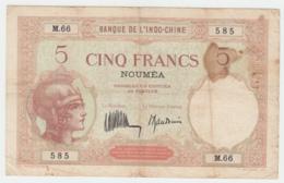 New Caledonia Noumea 5 Francs 1926 VG+ Pick 36b 36 B - Nouméa (New Caledonia 1873-1985)