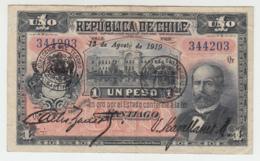 CHILE 1 PESO 1919 VF Pick 15b 15 B - Chile