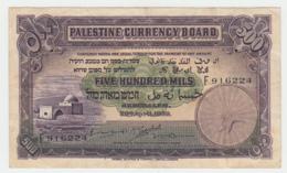 Palestine 500 Mils 1939 VF+ Pick 6c RARE - Israel