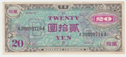 JAPAN 20 Yen 1945 VF+ Pick 73 - Japan