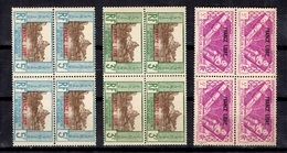 Océanie France Libre Maury N° 140, N° 141 Et N° 147 En Blocs De 4 Neufs ** MNH. TB. A Saisir! - Unused Stamps