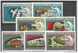 Ungarn 2945-51A Satz Mit 7 Briefmarken Kpl. Zu 100 Jahre UPU: 1874-1974, Gestempelt Mi.: 1,60 € - Hongrie