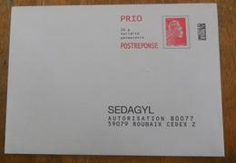 PAP  Réponse SEDAGYL     - Agrément  204325  -  Pas De N° à L'intérieur   - Marianne L'Engagée - Yseult YZ CATELIN - Entiers Postaux