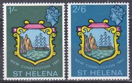 St. Helena 1967 Staatswesen Verfassung Constitution Wappen Coat Of Arms Schiffe Ships Felsen Rocks, Mi. 182-3 ** - St. Helena