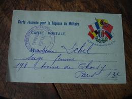 Gloire Aux Armees Alliees 5 Drapeaux Regiment Territorial Infanterie  Carte Franchise Postale Militaire Guerre 14.18 - Marcophilie (Lettres)