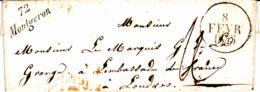 Cursive 72 Montgeron - Collection De Seine Et Oise - 1845 - Marcofilia (sobres)