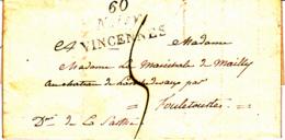 Cursive 60 Noisy VINCENNES (Noisiel) - Collection De Seine Et Oise - 1826 - Marcofilia (sobres)