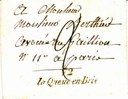 Cursive 72 La Queue En Brie - Collection De Seine Et Oise - 1837 - Marcophilie (Lettres)