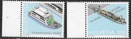 SWITZERLAND, 2019, MNH, FERRIES, SHIPS, TRAINS, PORTS,2v - Ships