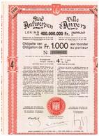 Obligation Ancienne - Stad Antwerpen Leening 1930 - Ville D'Anvers Emprunt 1930 - Titre De 1949 - Actions & Titres