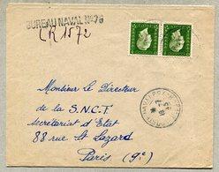 BUREAU NAVAL N° 75 (Toulon) Timbre à Date + Linéaire Sur Lettre Recommandée 1945 - Seepost